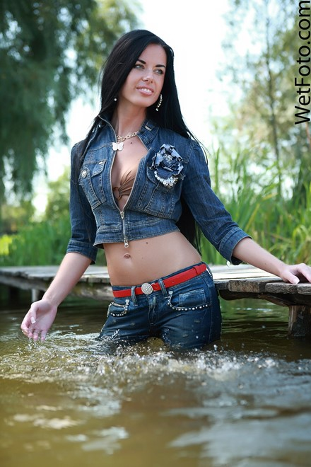 Wetlook by Sexy Brunette in Denim Jacket, Tight Jeans and