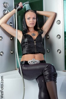 #125 - Fully Clothed Girl in Leather Leggings, Gloves, Blouse and High Heels in Jacuzzi