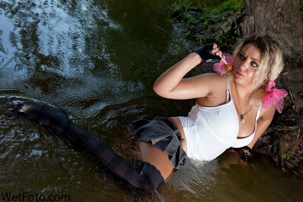 wet girl get wet wet hair swim fully clothed skirt sexy t-shirt stockings high heels lake