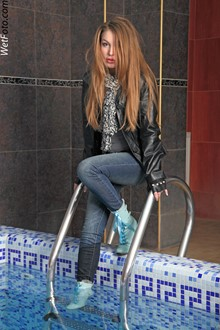 #152 - Wetlook by Girl in Leather Jacket, Tight Jeans, Scarf and Cute Shoes in Pool