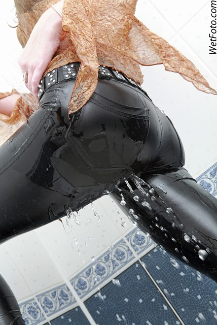 wet girl get wet wet hair fully clothed jacket blouse leggings shoes tights bath