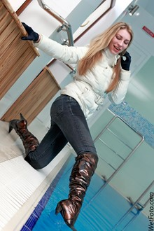 #161 - Fully Clothed Girl in Jacket, Tight Jeans and Boots Get Wet in Pool