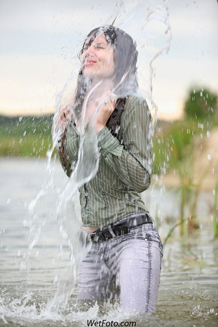 wet girl get wet wet hair swim fully clothed shirt jeans shoes river