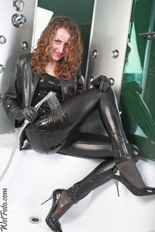 #174 - Wetlook by Curly Girl in Leather Jacket, Leggings, Gloves and High Heels
