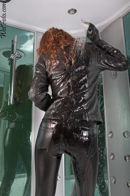 Wetlook By Curly Girl In Leather Jacket Leggings Gloves