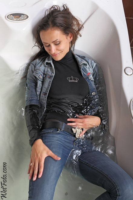 wet girl get wet wet hair fully clothed jeans blouse jacket stockings boots