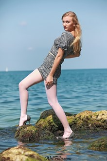 #181 - Blonde Girl Wetlook in Dress, White Stockings and Shoes on Sea