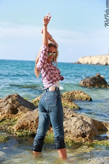 #189 - Wetlook by Cool Girl in Checkered shirt and Tight Jeans on Sea Shore