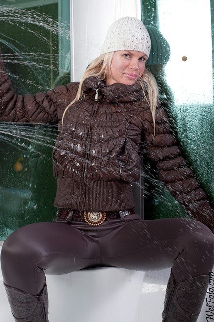 wet girl get wet wet hair jacket leggings hat gloves boots blouse shower