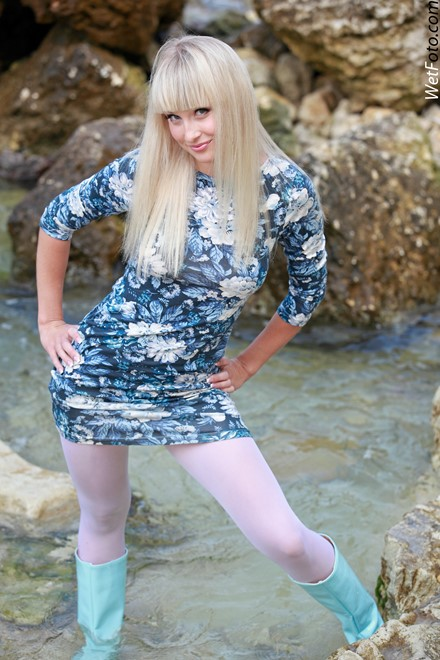 Wetlook By Sweet Blonde In Flowered Dress Tights And
