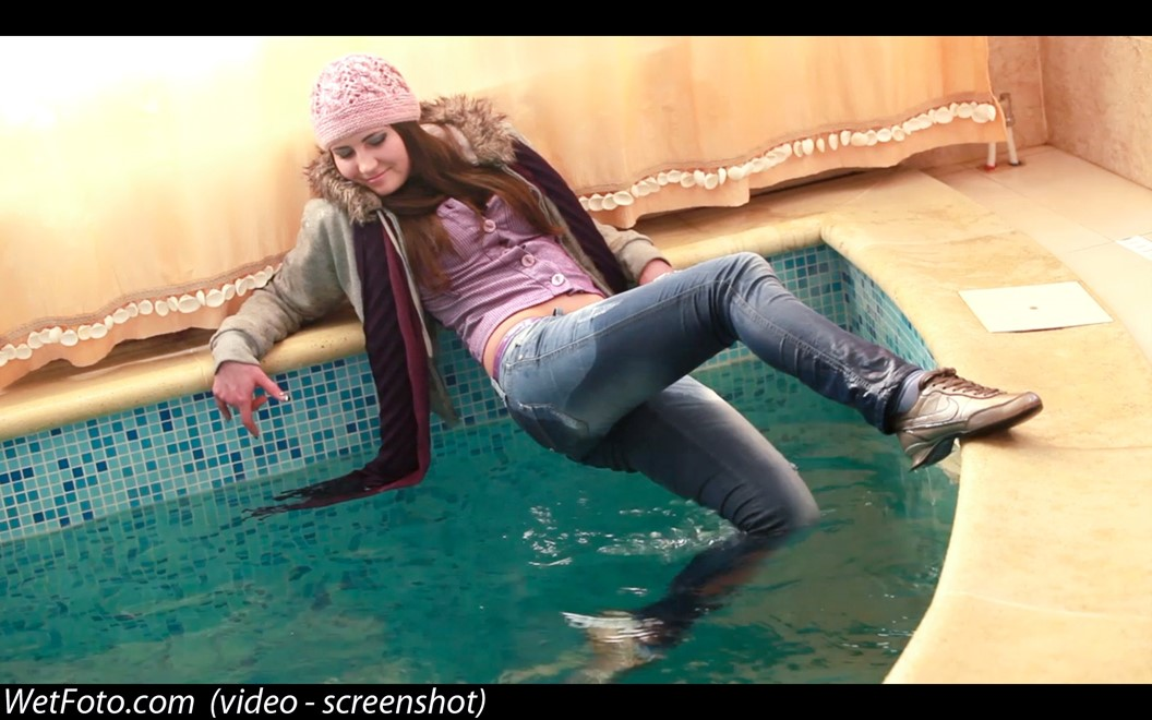 wet girl get wet wet hair swim fully clothed tight jeans jacket scarf gloves hat sneakers pool