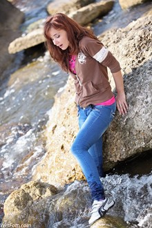 #212 - Fully Clothed Girl in Tight Jeans and Sneakers Get Wet on Sea