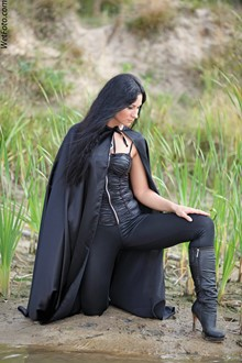 #213 - Dancing Girl's Wetlook in Black Leather Corset, Leggings, Mantle and Boots