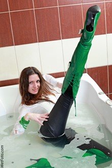 #214 - Wetlook by Cool Girl in Tight Jeans and Leather Jackboots in Jacuzzi Bath
