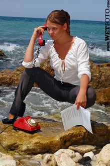 #22 - Fully Clothed Wet Girl in Jeans, Blouse and High Heels Talk on Phone