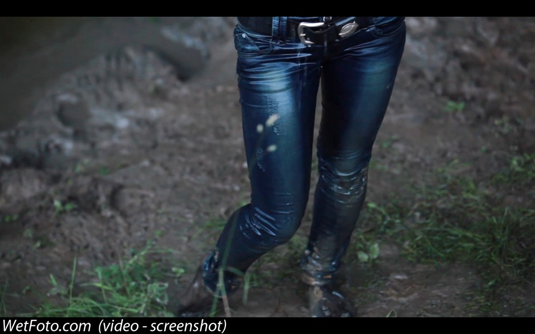wet girl get wet wet hair blouse jeans stockings high heels sandals mud laky