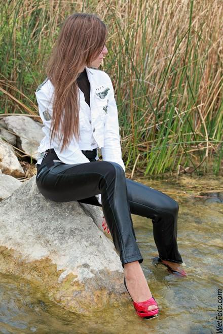 Wet Girl In Jacket, Leather Pants And High Heels On Lake - Wetlookone-8937