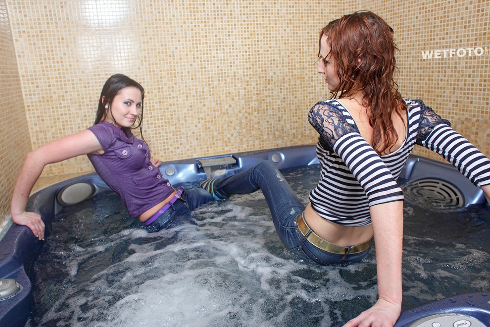 wet girl get wet wet hair fully clothed tight jeans blouse socks jacuzzi bath