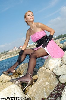 #24 - Wetlook by Pretty Girl in Cocktail Dress, Stockings and Evening Gloves on Sea