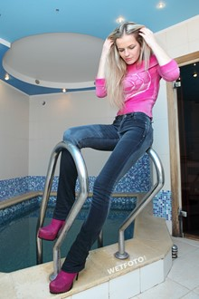 #241 - Wetlook by Hot Blonde in Pink Sweater, Tight Jeans and Bright Boots in Jacuzzi