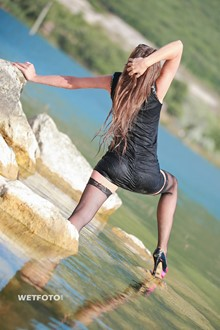 #244 - Hot Wetlook by Pretty Girl in Sexy Dress, Fishnet Stockings and High Heels by the Lake