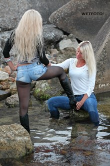 #251 - Wetlook with Two Fully Clothed Blondes in Wet Tight Jeans and Stockings