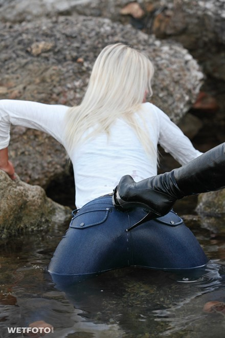 wet girl get wet fully clothed blouse jeans denim shorts stockings shoes high heels lake