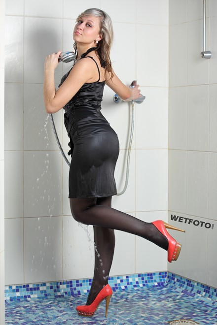 wet girl get wet fully clothed wet hair dress jacket stockings high heels jacuzzi