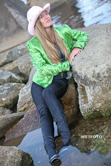 #254 - Sea Wetlook with Blonde Girl in Wet Jacket Tight Jeans and High Heels