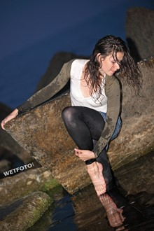 #260 - Fully Clothed Girl in Denim Skirt and Leggings Get Wet and Dance at Sea