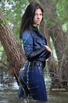 #267 - Wetlook by Hot Brunette in Denim Jacket and Skinny Jeans and Leather Boots