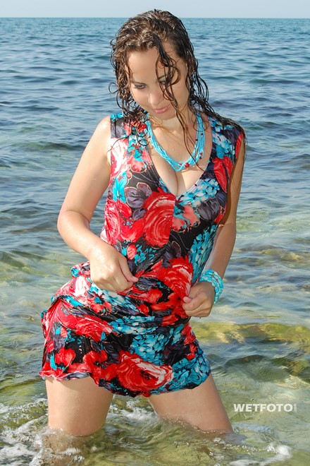 wet girl get wet wet hair swim fully clothed sundress high heels sandals sea