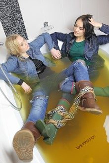 #285 - Wetlook by Two Soaking Wet Girls in Denim Jackets, Jeans and Boots