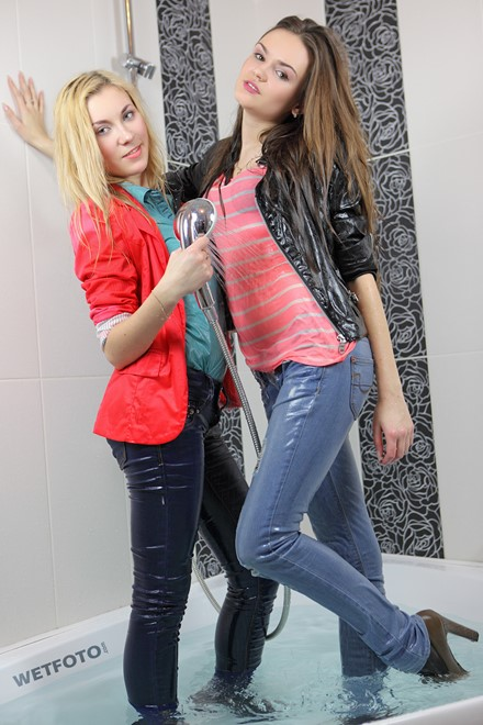 wet girl get wet wet hair leather jacket jeans blouse shirt tights high heels bath