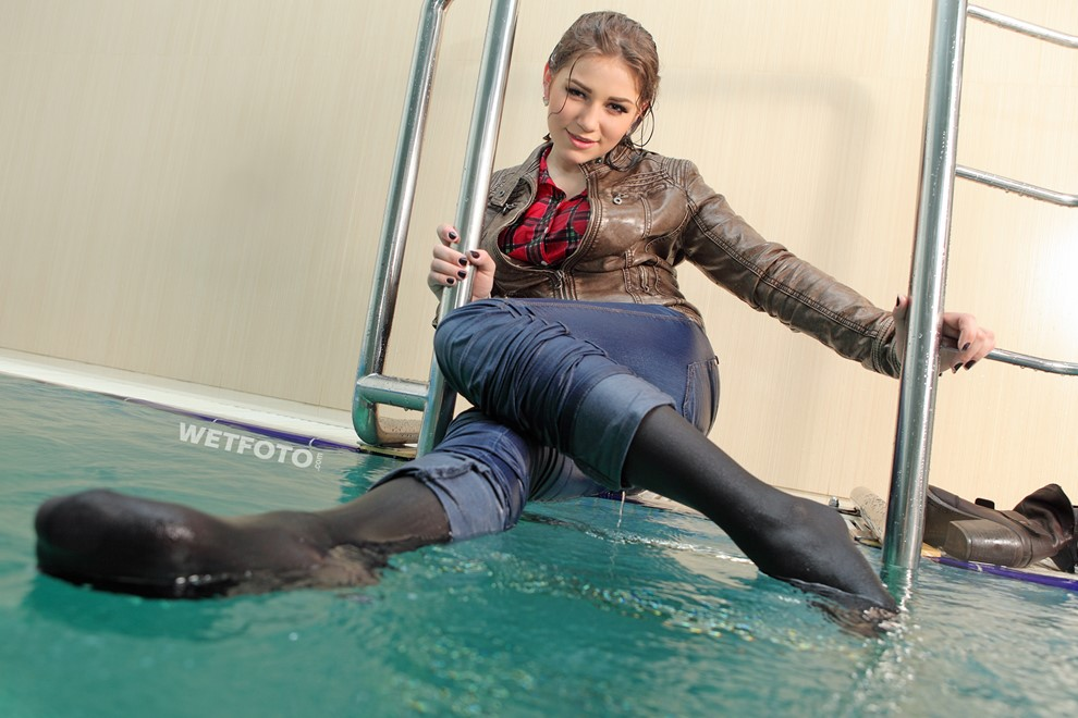 wet girl get wet wet hair swim fully clothed leather jacket tight jeans boots pool