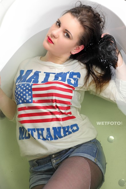 wet girl get wet wet hair soaking wet sweater shorts tights uggi bath