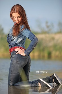 #295 - Wetlook by Girl in Denim Jacket, Tight Jeans and Sneakers