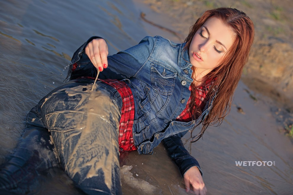 wet girl get wet wet hair swim fully clothed jacket right jeans sneakers