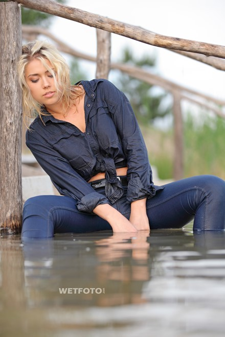wet girl get wet swim fully clothed wet hair jeans shirt tights lake