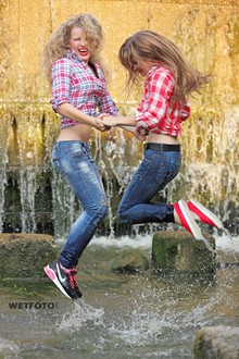 #301 - Wetlook by Two Soaking Wet Girls in Shirts, Tight Jeans and Sneakers