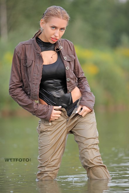 wet girl wet hair get wet denim jacket stockings high heels water lake