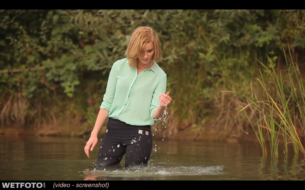 wet girl wet hair get wet blouse leggings high heels swim fully clothed water lake