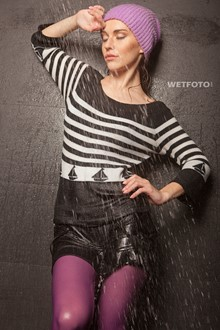 #313 - Wetlook by Cool Girl in Striped Blouse, Mini Skirt, Violet Tights and Sneakers