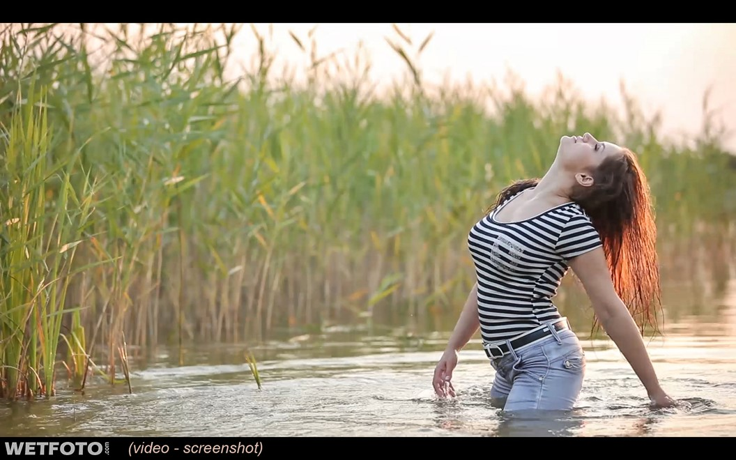wet girl wet hair get wet t-shirt tight jeans tights swim fully clothed lake