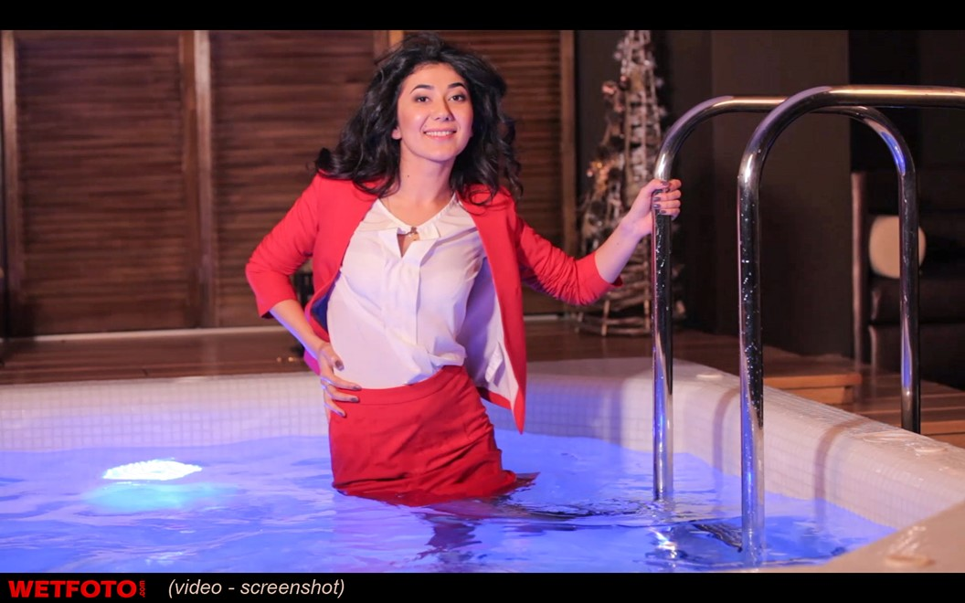 wet girl wet hair get wet business suit blouse tights high heels fully clothed fully soaked jacuzzi