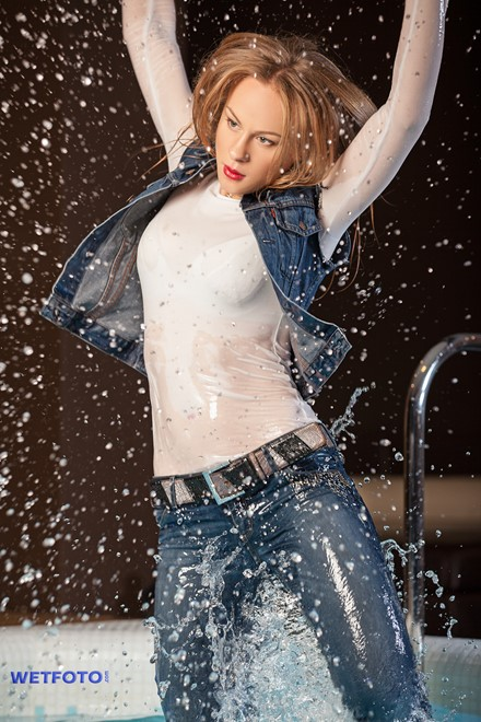 wet girl wet hair get wet blouse denim vest tight jeans tights fully clothed fully soaked spa