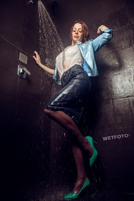 wet woman wet hair get wet jacket blouse denim skirt stockings dress shoes fully soaked spa