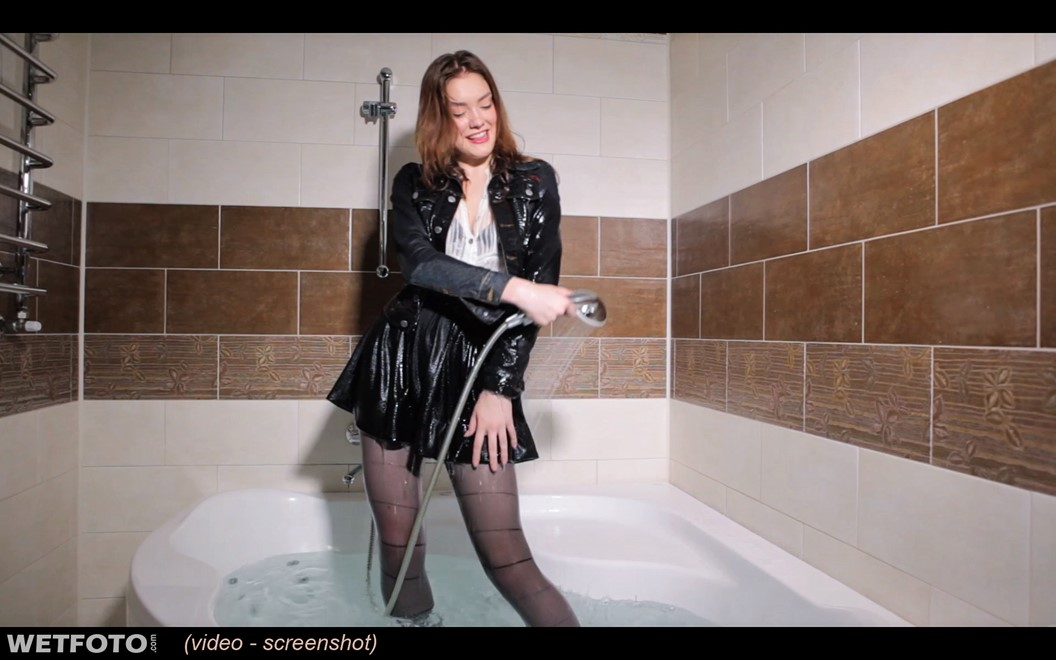 wet girl wet hair get wet denim jacket transparent blouse mini skirt tights fully soaked jacuzzi bath