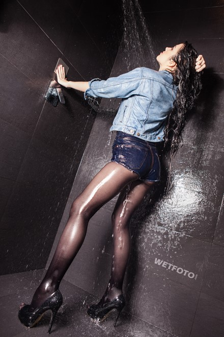 wet girl wet hair get wet top denim jacket short shorts tights high heels fully soaked shower