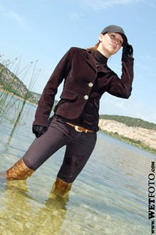 #34 - Beautiful Girl in Jacket, Jeans and Leather Boots Get Fully Wet in River